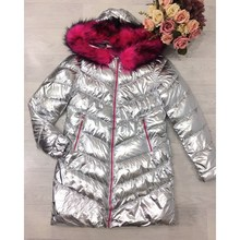 Winter Women Silver Jacket  Fabric With Rose-carmine Faux Fur Hooded Thick Outerwear Bright Metallic Color Warm Parkas
