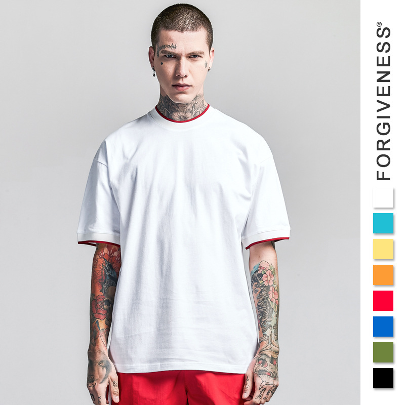 2018 Original Tide Brand Pure Color Mens T-shirt Retro Sports Loose Basketball Jersey Simple Style