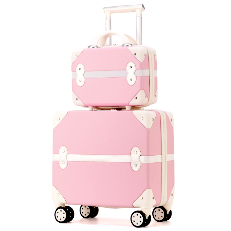 Travel Suitcase Set Rolling Luggage Trolley Case Travel Bag  18inch Boarding Suitcase Spinner Luggage Wheels Women Cosmetic Case