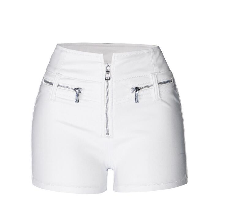 Summer Punk PU Leather   Shorts   High Waist White   Shorts   Women Plus Size Booty Push Up   Shorts