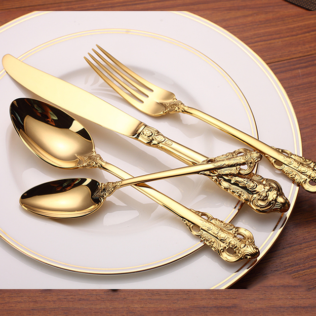 4 8 16 24pcs Luxury Golden Dinnerware Set Gold Plated Stainless Steel Cutlery Wedding Tableware Dining & 4 8 16 24pcs Luxury Golden Dinnerware Set Gold Plated Stainless ...