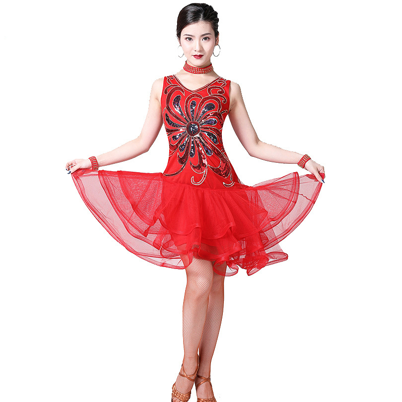 2019 Women Dance Clothes Competition Salsa Samba Wear V-neck Tutu Dress Sequins One Piece Latin Dresses (with Necklace Bracelet)