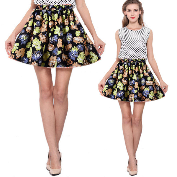 Aliexpress.com : Buy New Fashion Women Pleated Floral Short Mini ...