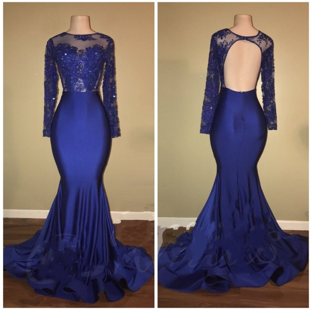 Blue 2019   Prom     Dresses   Mermaid Long Sleeves Beaded Lace Backless Party Maxys Long   Prom   Gown Evening   Dresses   Robe De Soiree