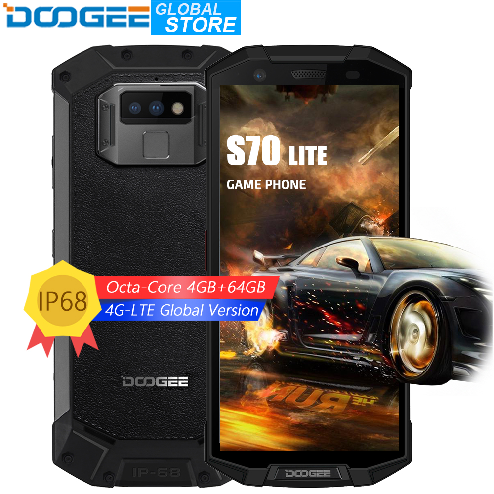 DOOGEE S70 Lite IP68/IP69K Étanche Helio P23 Octa Core 4 gb 64 gb LTE Sans Fil Charge NFC 5500 mah 12V2A Charge Rapide 5.99 ''FHD