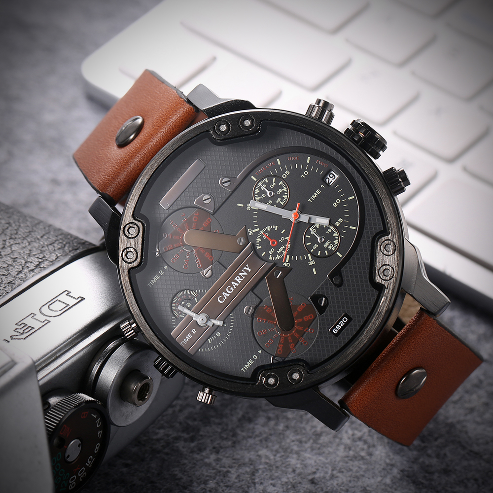 <font><b>52MM</b></font> Big Case Quartz <font><b>Watch</b></font> For Men Classy Mens Wrist <font><b>Watches</b></font> Waterproof Dual Time Displays Military relogio masculino Male Clock image