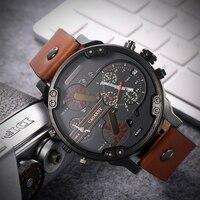 Reloj de cuarzo grande para hombre, cronógrafo con cuerpo de 52mm con pulsera, resistente al agua, con doble hora, estilo militar