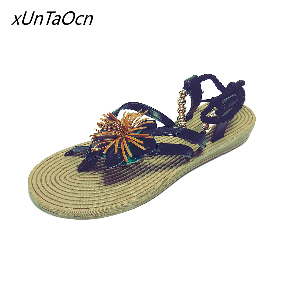 boho women Beach Wear Female Flowers shoes Lace up lady ankle strap Footwear flip flops woman bohemian flats Sandals White black