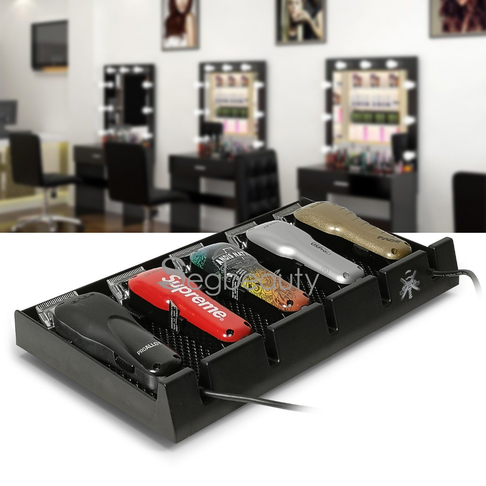 Salon Barer Clipper Tray Black Clippers Organizer Case with 5 Notches Professional Anti-slip Hairdresser Tools Box