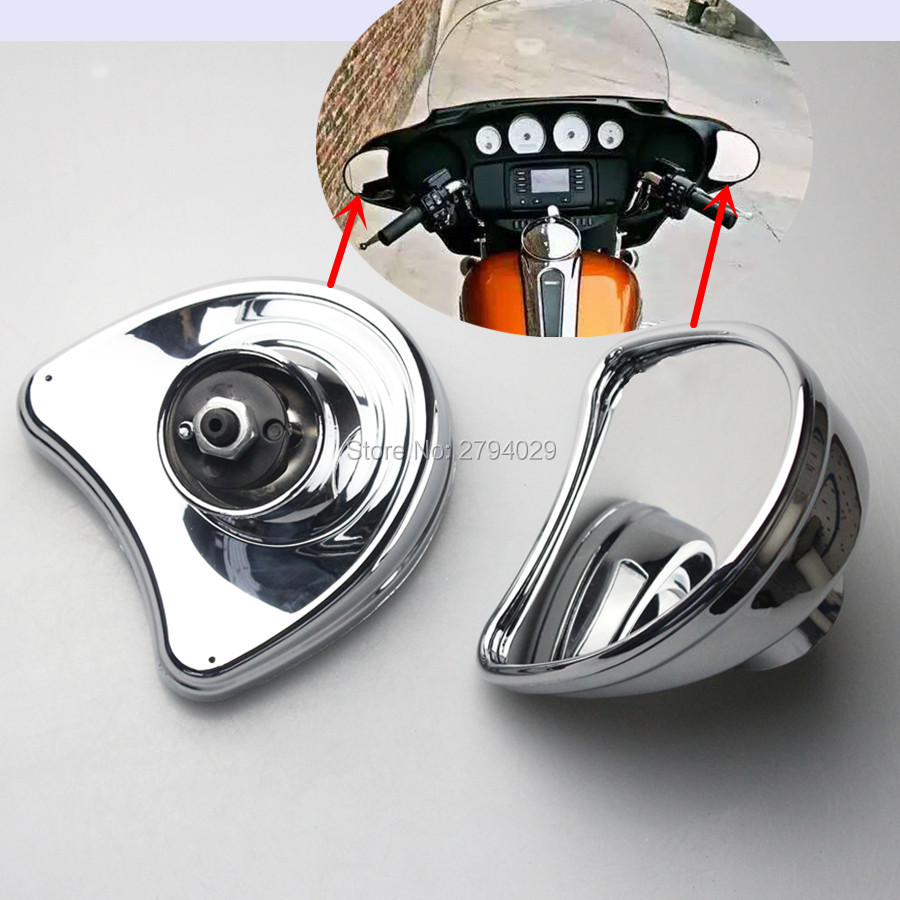 Free Shipping Chrome Rearview Fairing Mount Mirrors Fit For 2014-Later Harley Davidson Electra Glide Ultra Limited and Tri Glide