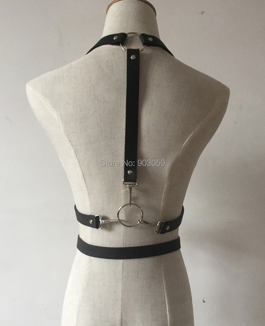 Men Women Unisex Handmade Punk Leather Harness Double Straps Waist Belt Body Bondage Sculpting Cage Belt leather Suspenders belt