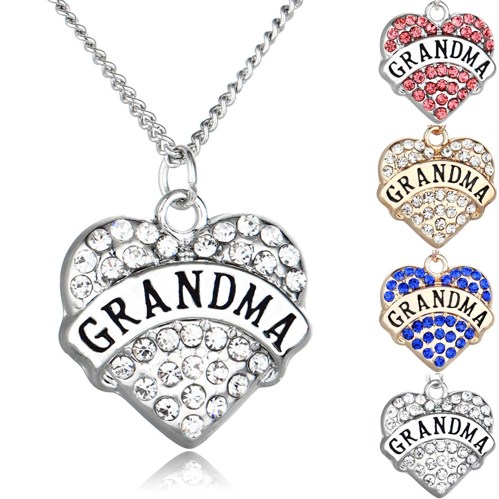 Family member jewelry silvergold color with rhinestone heart shaped family member jewelry silvergold color with rhinestone heart shaped grandma pendant choker long necklace for christmas gift in pendant necklaces from aloadofball Image collections