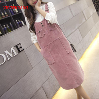 Spring Korean Fashion Loose Women Strap Corduroy Sleeveless Pink Dress Autumn Vintage Cute Casual Female Overalls Dresses