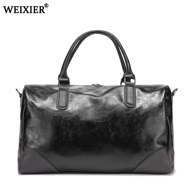 black Mens PU leather large travel bag Large Capacity Duffle Bag Vintage Hand Luggage Shoulder Bag