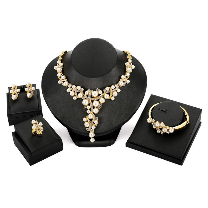 Brand New Alloy Rhinestone Pearl Gold Vintage Style Statement Necklace Earrings Ring Bracelet 4PCS Jewelry Set For Party Events