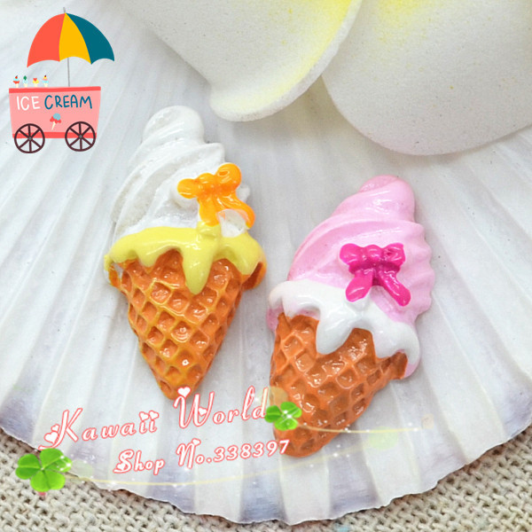 13*24mm 100pcs Free shipping resin ice cream cone flat back cabochon