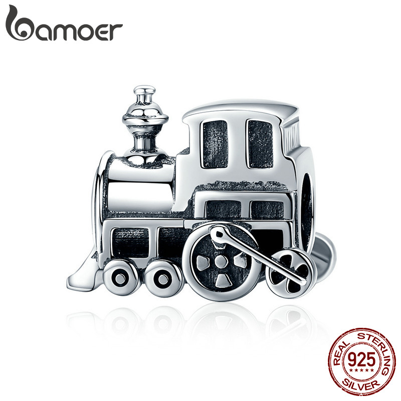BAMOER 100% Real 925 Sterling Silver Vintage Locomotive Train Car Charm fit Women Charm Bracelet DIY Jewelry Making SCC507