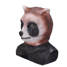 Hot Selling Realistic Animal Head Carnival Party Latex Raccoon Mask for Halloween Cosplay