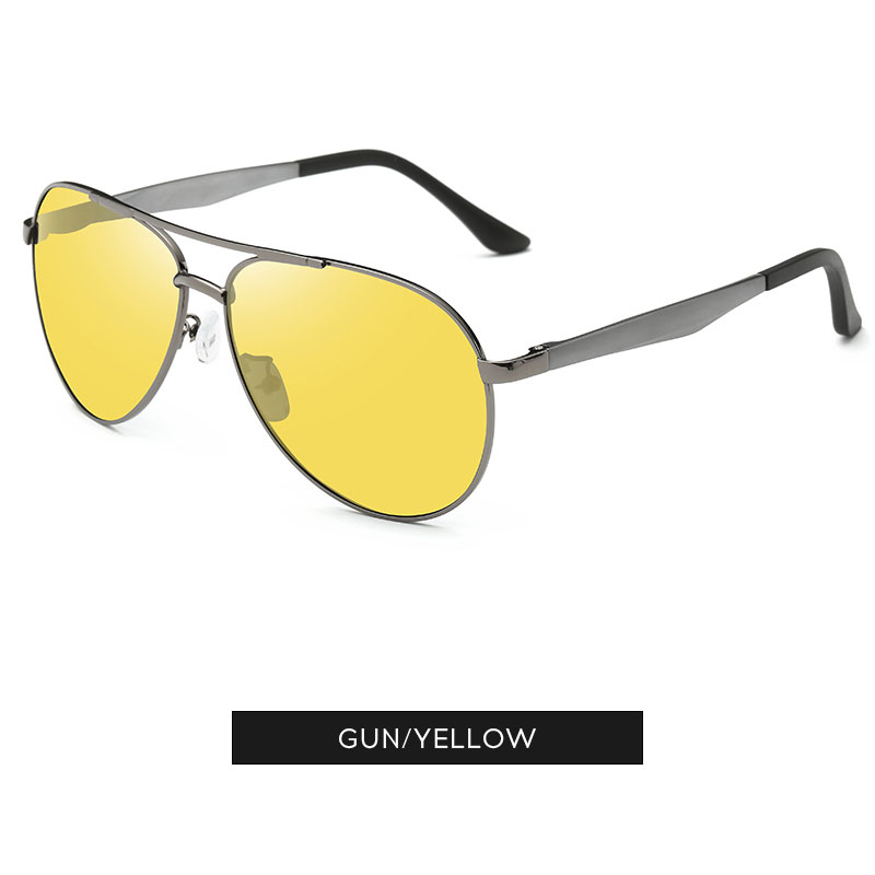 Night Vision Mens HD Yellow Lens Polarized Sunglasses Aluminum Pilot Eyewear