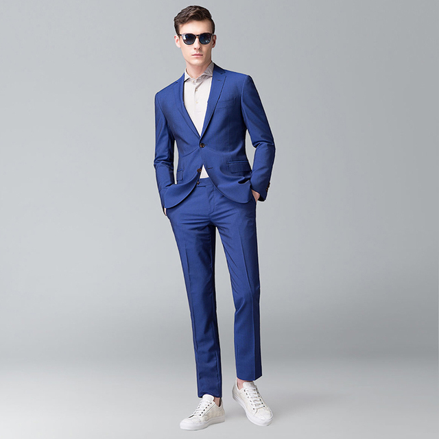 info for a4a4e f9f60 Smart Casual Dark Blue Dark Navy Business Suit Groom Wedding Mens Suit  Blazer Tuxedos Suit for Men Slim Fit Business Prom Suit