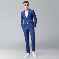 Smart Casual Dark Blue Dark Navy Business Suit Groom Wedding Mens Suit Blazer Tuxedos Suit For