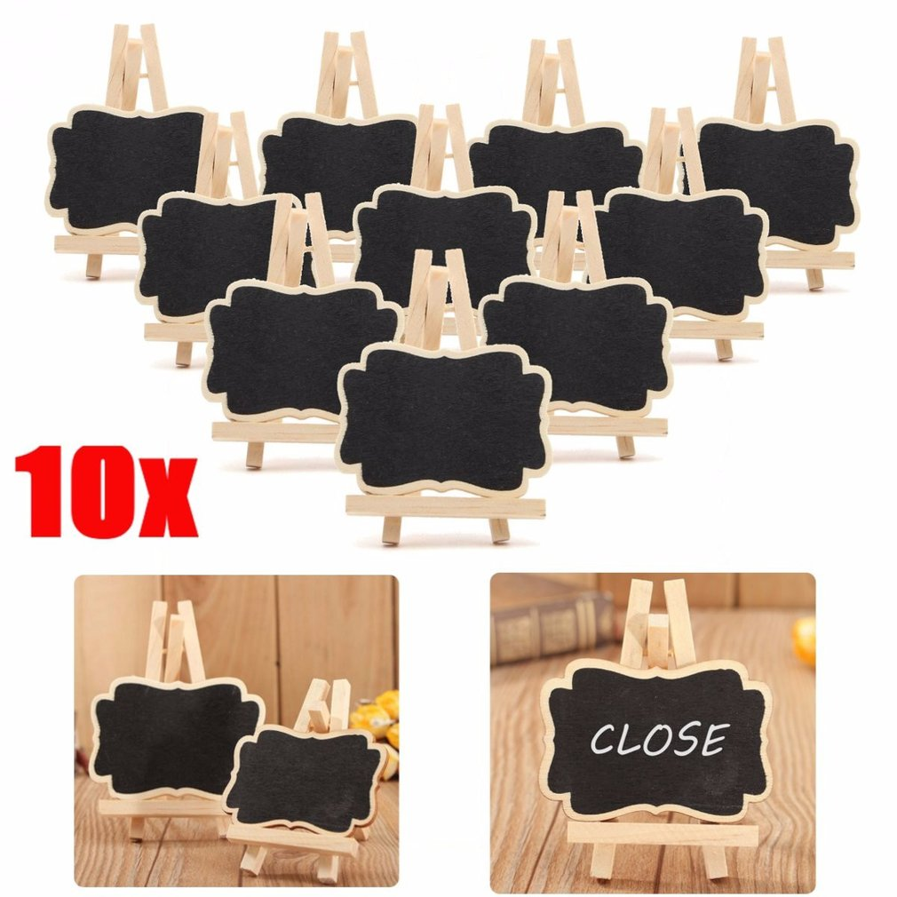 10pcs/set Mini Wooden Blackboard Chalkboard Stand Wedding Party Table Decor Tags New Z07 Drop Ship(China)