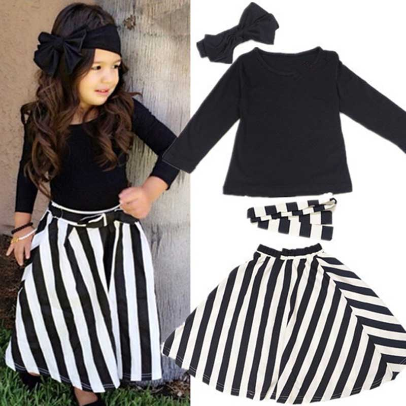 35f92343 4Pcs Baby Girls Long Sleeve Shirt+ skirt Set Kids Casual Outfits 2-7y  toddler girls clothing