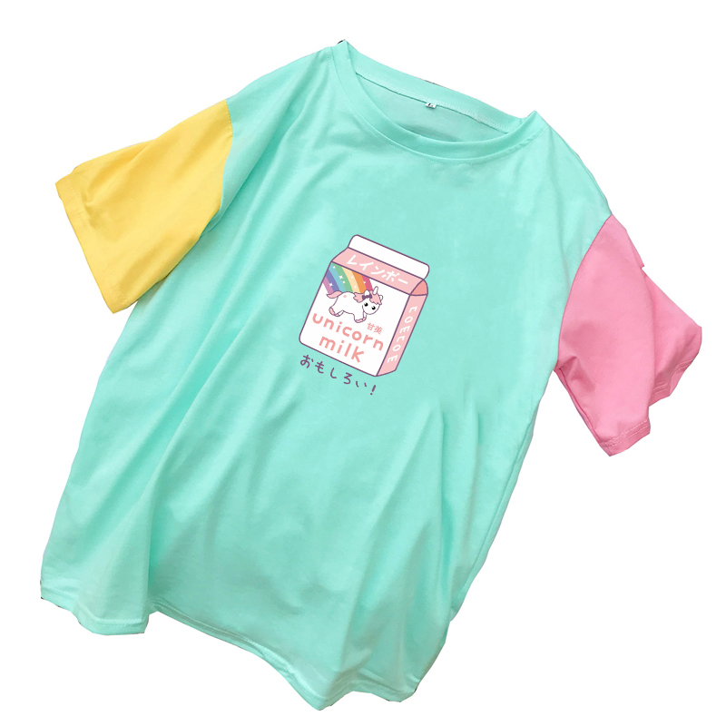 Women Mulicolor Patchwork Cotton T Shirts Summer New Casual Tee Shirt Femme Streetwear Harajuku Kawaii Cartoon Unicorn Milk Tops