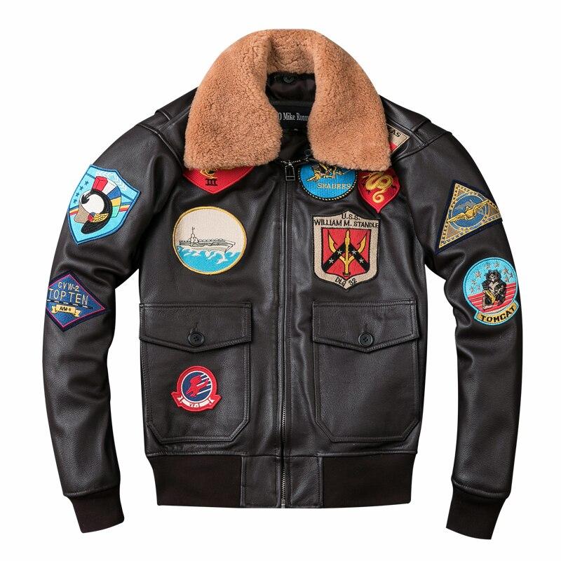 Chaqueta de cuero de piloto de pistola marrón de 2019 para hombre, chaqueta de lana con cuello de talla grande XXXL, piel de vaca genuina, abrigo de Aviador ruso de invierno envío gratis