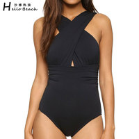 HELLO BEACH One Piece Swimsuit Women Cross Straps Swimwear Female Vintage Monokini Retro Bodysuit Women S
