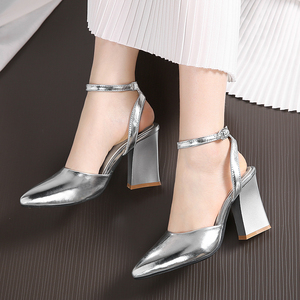 Image 4 - 2020 new Women Pumps Thick Heels Ladies Party Wedding shoes Gold silver Shoes Summer Buckle Ankle StrapFootwear Size 34 43 f532