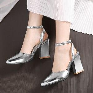 Image 4 - 2020 nowych kobiet pompy grube obcasy panie wesele buty złote srebrne buty letnia klamra kostki pasek obuwie rozmiar 34 43 f532