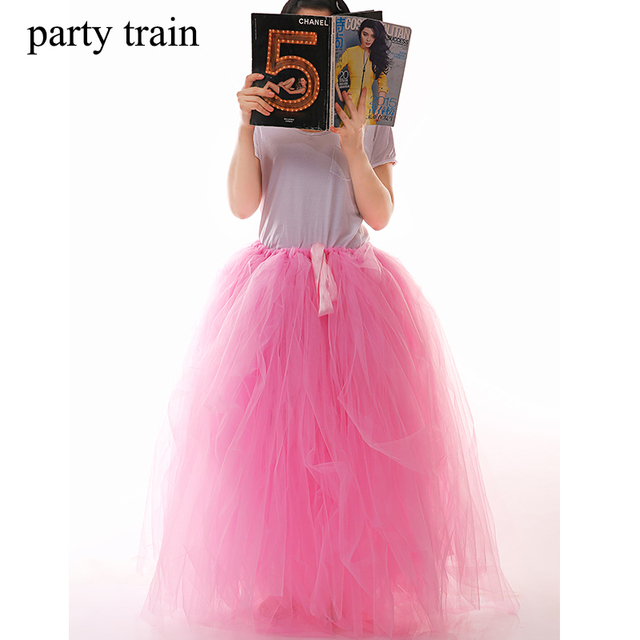 100cm Length Tulle Skirts Girls Fluffy Chiffon Solid Colors Adult Tutu Skirts Girl Dance Skirt Christmas