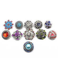 Mix 10pcs/lot Many Styles 18-22mm Alloy Snap Buttons Rhinestone Elephant Fit Women Bracelets Watches DIY Jewelry