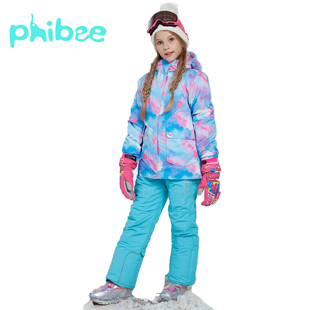 329af9b20 Phibee Winter Suit For Girl Kids Clothes Ski Suit Warm Waterproof ...