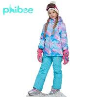 Phibee Winter Suit For Girl Kids Clothes Ski Suit Warm Waterproof Windproof Snowboard Sets Winter Jacket Children Clothing