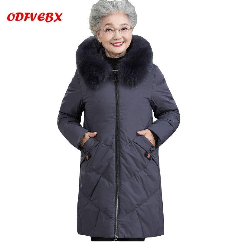 2018 nouveau blanc duvet de canard veste femelle plus la taille moyen long hiver manteau à capuchon Top dames col de fourrure graisse grand-mère vêtements