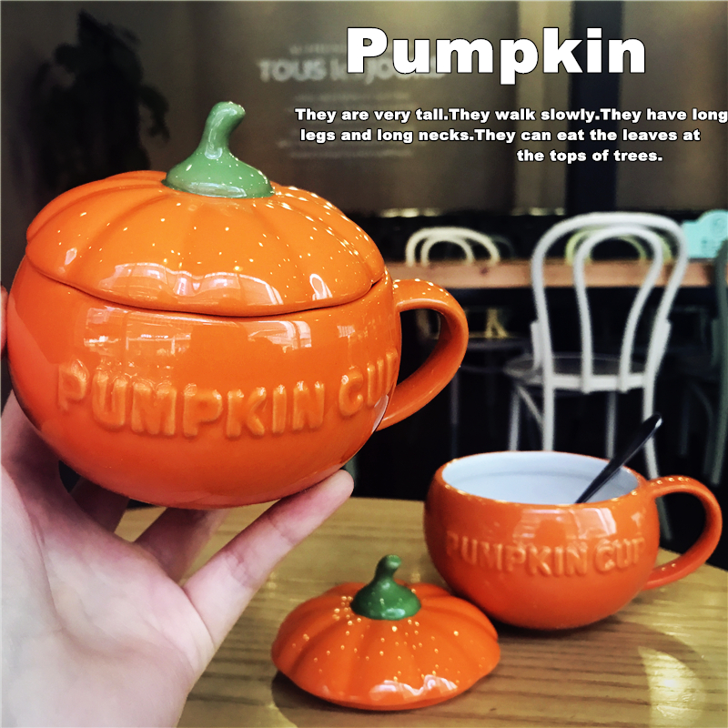 Cute Pumpkin Cups Coffee Milk Mugs with Lid and Spoon Creative Cartoon Child Home Breakfast Cup 3D Ceramic Mug Christmas Gifts