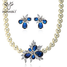 Viennois Blue Zircon Rhinestone Plated Simulated Pearl Jewelry Set For women Wedding Rhinestone Paved Bridal Jewelry(China)
