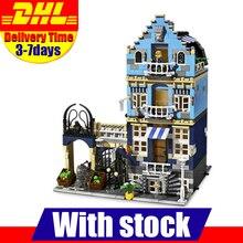 Dhl лепин 15007 завод город улица европейский рынок модель строительным блоком набора кирпичи наборы набор diy клон 10190