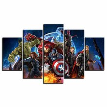 Modern HD Printed 5 Panel Avengers Poster on Canvas
