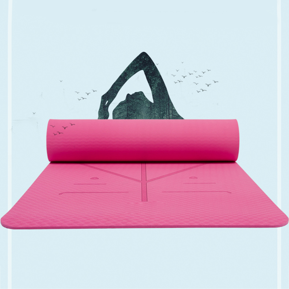 1830*610*6mm TPE Yoga Mat with Bag Non Slip Mat For Beginner Environmental Fitness Gymnastics Mats 3 in 1 tpe yoga mat 6mm environmental tasteless colchonete fitness gymnastics mat gym exercise mat with yoga mat bag 183 61 0 6