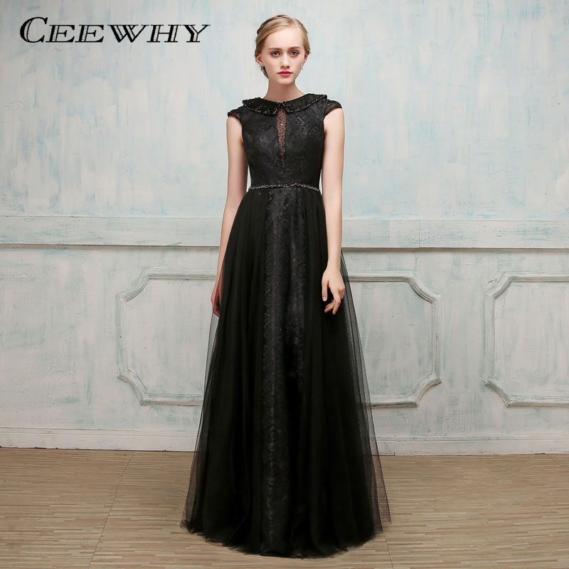 CEEWHY Tulle Long Lace Evening Dress Black Prom Formal Party Gown Abendkleider Lange Crystal Evening Gowns Vestido Longo