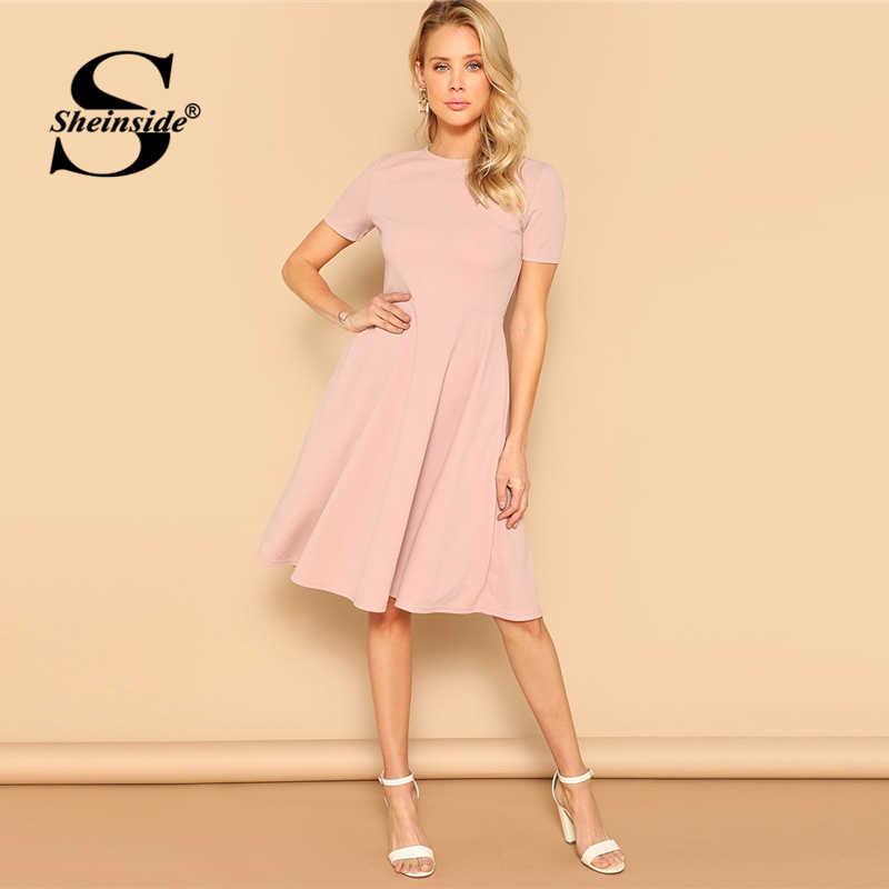 Sheinside, элегантное, розовое, с косым карманом, миди платье для женщин, 2019, летнее, повседневное, на молнии, сзади, расклешенное платье, для девушек, одноцветное, ТРАПЕЦИЕВИДНОЕ ПЛАТЬЕ
