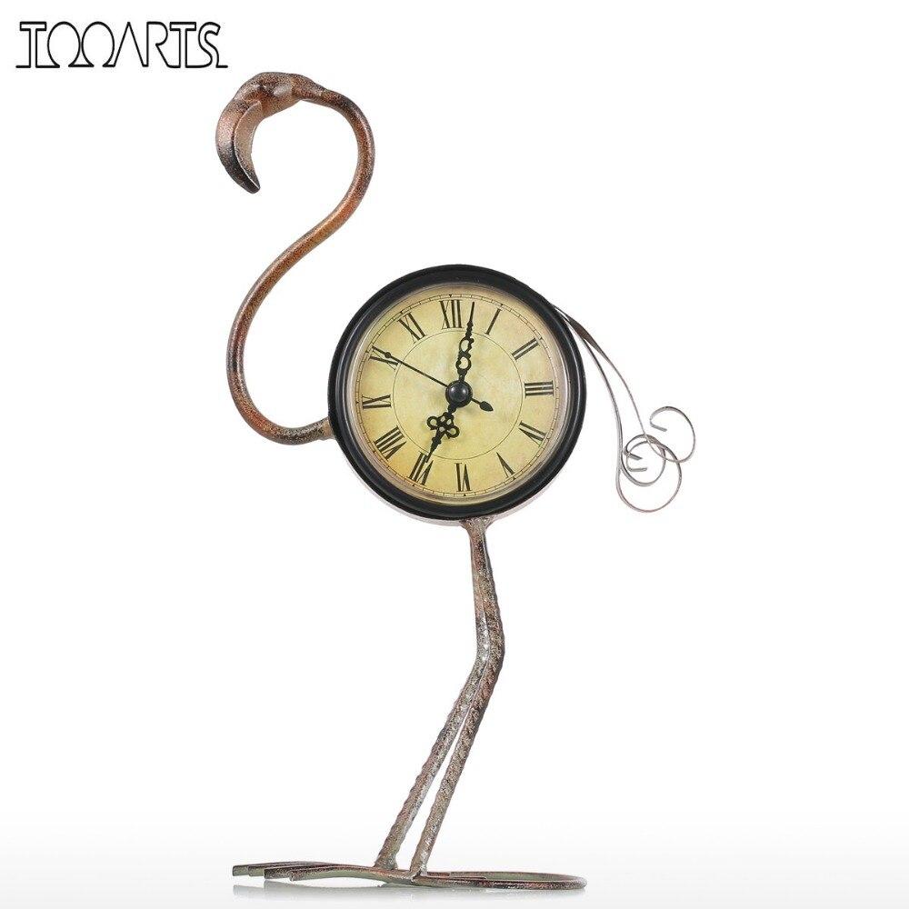 Tooarts Flamingo Schmiedeeisen Uhr Retro Schreibtische Uhr dekoration Handgemachte Vintage Metall Wohnkultur Figurine Stumm Tisch Uhr