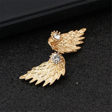 ADOLPH Jewelry 2016 Fashion New Earrings Angel's Wings Alloy Rhinestones Stud Earring For Woman 95-ED49 Best Gift Wholesale Hot