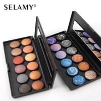 Brand SELAMY 12 Colors Eyeshadow Makeup Palette 2 Option Baking Powder Smooth Velvet Eye Shadow Kit