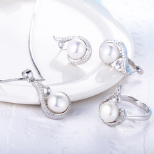 Starland Hot 925 Sterling Silver Women Pearl Jewelry Sets Water Drop Shape Necklace Pendant British buckle