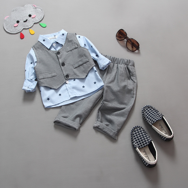 Spring Baby Boy Gentleman Suit Shirt + Overalls 2pcs Long Sleeve T-shirt Boys Pants Kids Clothes Children's Clothing Set new 2018 spring fashion baby boy clothes gentleman suit short sleeve stitching plaid vest and tie t shirt pants clothing set