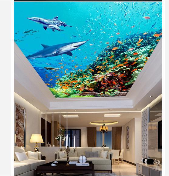 3D photo wallpaper 3d celing wallpaper murals Marine fish living room bedroom ceiling frescoes wall paper living room decoration